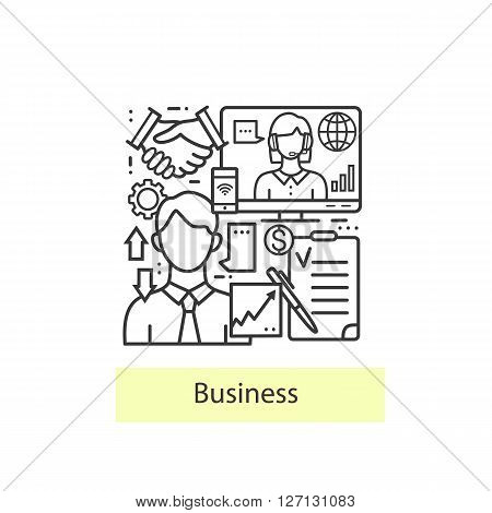 Modern thin line icons for business and management. Modern concept of a collection of vectors. Vector  business background.