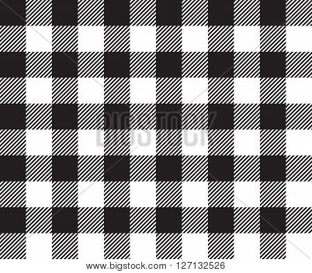 Black tablecloth background seamless pattern. Vector illustration of traditional gingham dining cloth with fabric texture. Checkered picnic cooking tablecloth.