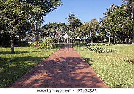 Paved Walkway At Botanical Gardens In Durban South Africa