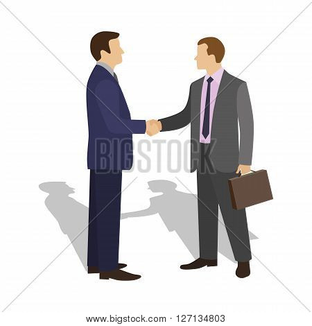 The meeting of two businessmen and business handshake. Man in a business suit holds out his hand in greeting to the partner. Handshake of two men. Vector illustration.