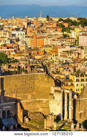 View of the Forum of Augustus in Rome, Italy