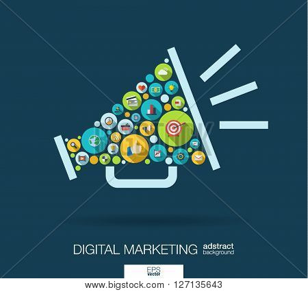 Color circles, flat icons in a speaker shape for digital marketing, social media, network, computer concept. Abstract background with connected objects in integrated group of element. Vector illustration