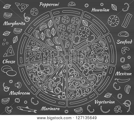 Pizza pieces and its ingredients. Chalk board background. Vector illustration