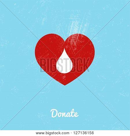 Donate blood bag on blue background. Vector illustration