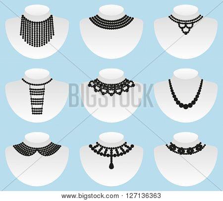 Bead silhouettes set.  Collars and jewellies set. Vector illustration
