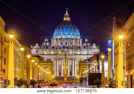 View of St. Peter's Basilica in Vatican City - Rome