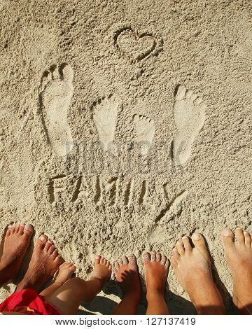 a Family feet on the sand by the sea