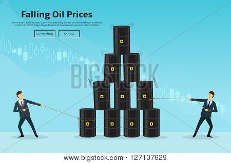 Businessmen pull the oil barrels. Concept of web banner with oil barrels and a financial chart. Vector illustration of oil industry in the form of a pyramid of oil barrels. Oil prices down.