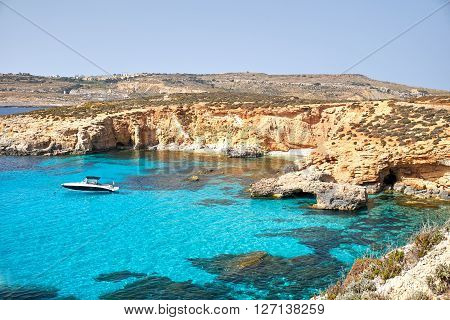 Blue Lagoon on a sunny day in APRIL 13 2016 in Comino island Malta.