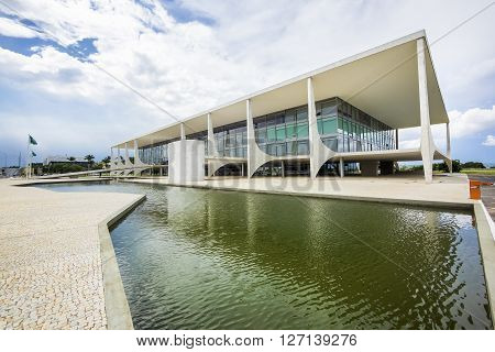 Brasilia, Brazil - November 18, 2015: Planalto Palace (Palacio do Planalto), the official workplace of the President of Brazil, located in the national capital of Brasilia.