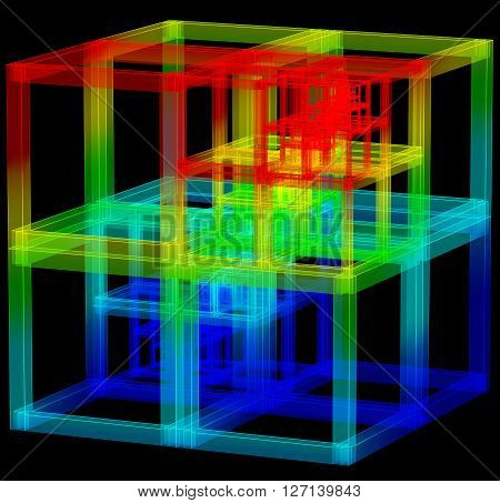 3D illustration of abstract colored carcass cube construction