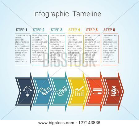 Template Timeline Infographic colored horizontal arrows numbered for six position can be used for workflow banner diagram web design area chart