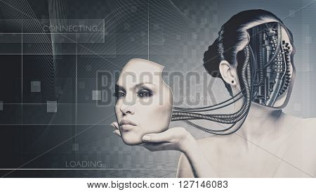 Future technology and science female portrait for your design