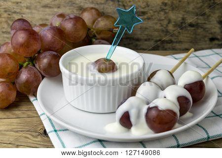 grape yoghurt on the wooden table, fresh, fruit, yogurt, yoghurt,
