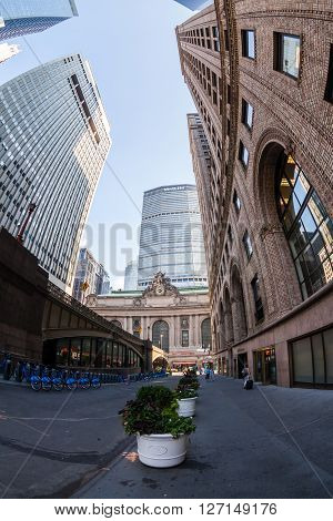 MANHATTAN, NEW YORK - SEPTEMBER 19, 2015: View to the Grand Central Terminal and the Met Life Building on September 19 2015. This view is from the Sixth Avenue also called the Park Avenue.