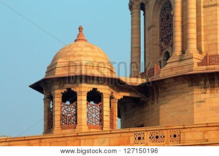 Architectural detail of the Rashtrapati Bhavan - president estate - Delhi, India