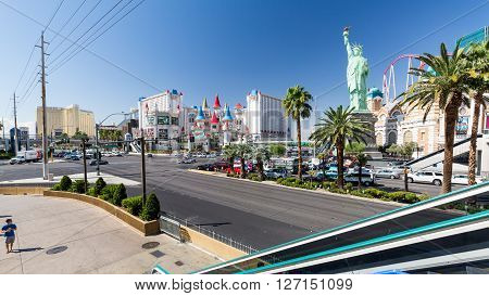LAS VEGAS, NEVADA - SEPTEMBER 9, 2015: Exterior views of the New York New York Casino on the Las Vegas Strip on September 9 2015. The New York New York is a famous and popular luxury casino in Vegas.