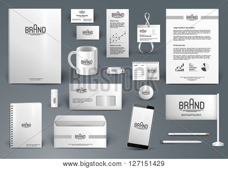 Corporate identity template. Branding design with logo.  Letter envelope, card, catalog, pen, pencil, badge, paper cup, smartphone, letterhead, calendar poster