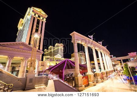 LAS VEGAS, NEVADA - SEPTEMBER 9, 2015: Exterior views of the Caesars Palace Casino on the Las Vegas Strip on September 9 2015. The Caesars Palace Casino is a famous and popular luxury casino in Vegas.