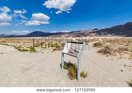 DEATH VALLEY, CALIFORNIA - SEPTEMBER 9, 2015: View of the Race Track Playa in the Death Valley National Park on September 9, 2015. The desert called Racetrack is a nature wonder - heavy stones left traces in the desert.