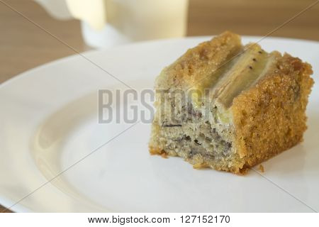 delicius Slice of banana cake on plate