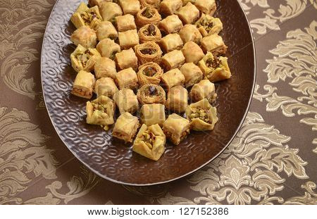 Oriental arabic dessert - pistachio baklava. Arabic baklava with pistachios.