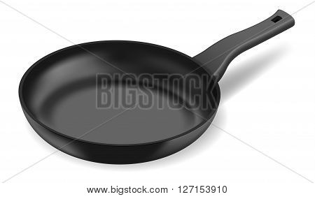 Photorealistic black frying pan on white background