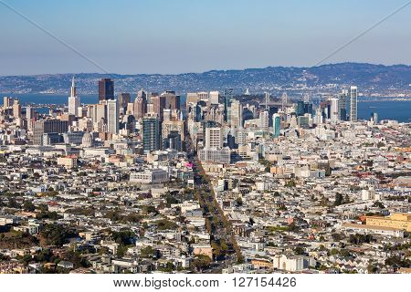 San Francisco Skyline Overlook From Twin Peaks