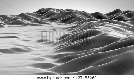 3D illustration of a surface looks like a mountain landscape