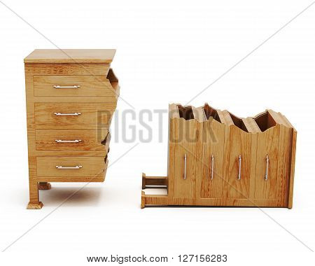Broken wooden chest on white background. Conceptual image. Chest of drawers. Front view. 3d rendering