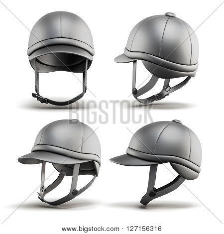 Set of jockey helmet for horseriding on a white background. 3d rendering.