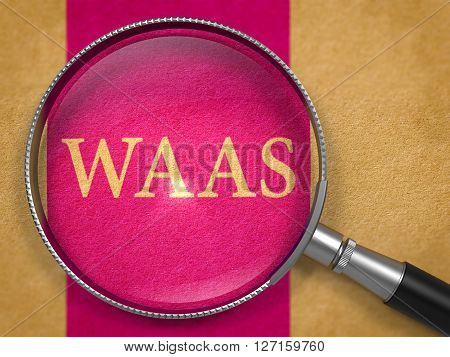 WAAS - Workspace as a Service - through Loupe on Old Paper with Lilac Vertical Line Background. 3D Render.