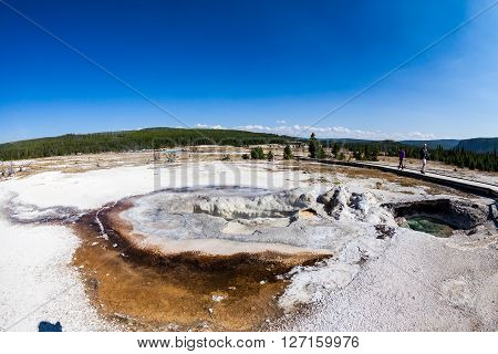 YELLOWSTONE NATIONAL PARK WYOMING - SEPTEMBER 1: Outdoor views of the Saphire Pool in the Yellowstone National Park on September 1, 2015. Yellowstone is a popular famous nature park in the United States.