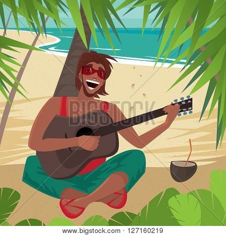 Carefree fun guy sitting on a beach under a palm tree plays guitar and sings standing next to a coconut drink. Front view - Happiness or Freedom concept
