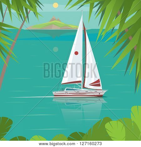 Side view of a sailing boat which floating between the islands - Exotic holidays or Trip around the world concept