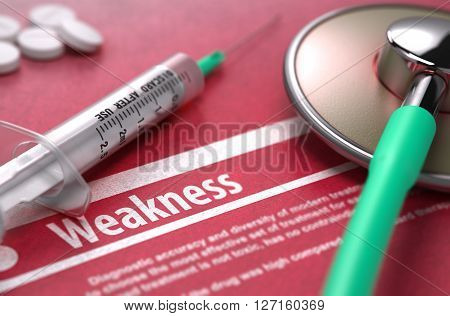 Weakness - Medical Concept on Red Background with Blurred Text and Composition of Pills, Syringe and Stethoscope. 3D Render.
