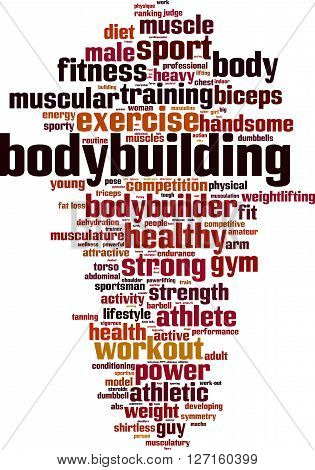 Bodybuilding word cloud concept. Vector illustration on white