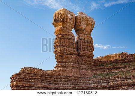 View of Twin Rocks in Bluff Utah USA