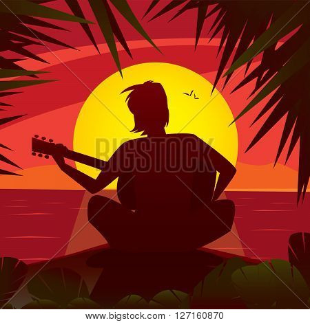 Silhouette of a romantic man playing the guitar at the sunset sitting on the edge of the shore in exotic country - Alone with himself or Solitude concept