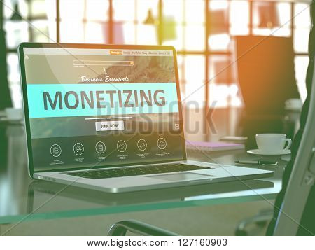 Modern Workplace with Laptop showing Landing Page with Monetizing Concept. Toned Image with Selective Focus. 3D Render.
