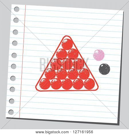 Snooker balls in snooker triangle