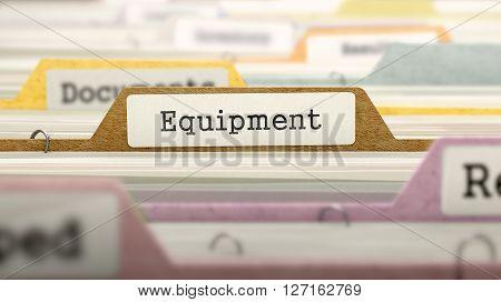 Equipment Concept on Folder Register in Multicolor Card Index. Closeup View. Selective Focus. 3D Render.