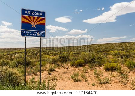 PAGE, ARIZONA, USA - AUGUST 30, 2015: View of the Welcome to Arizona sign along the highway near the city of Page on August 30, 2015.