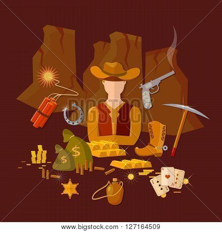 Wild west cowboy set cowboy hat vector illustration