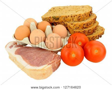 Raw bacon rashers with eggs and tomatoes isolated on a white background