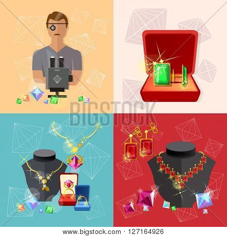 Jewelry banners: jeweler at work jewels earrings rings gems poster