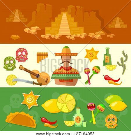 Mexico banners mexican culture and food poncho guitar