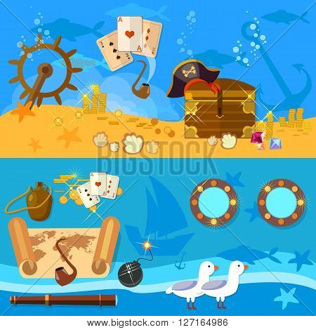 Pirate adventure banners underwater treasure chest pirate map vector illustration
