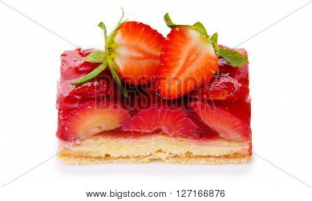Strawberry pie isolated on  white background.Fruitcake and red juicy strawberrys. poster