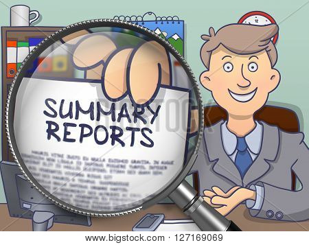 Summary Reports through Lens. Successful Man Welcomes in Office and Holding a Paper with Inscription. Colored Doodle Illustration.